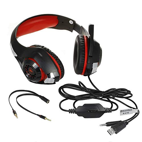 Faus Koco Illuminated Head-mounted Gaming Headset With Microphone Surround Sound Stereo/Noise Canceling Mic/LED Light/Compatible With PC, PS4, Xbox And More (Size : Red)