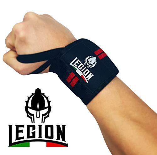 LEGION Fasce da Polso Professionali per Sollevamento Pesi in Palestra. Wrist Wraps, Polsiere, Supporti Articolari per Fitness, Bodybuilding, Powerlifting, Crossfit, Calisthenics, (Coppia, 51x8cm)