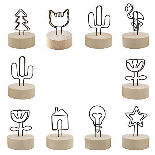 PEAK-EU 10 Pcs Stands en Bois avec Porte Photo Marque Place Bois pour Mémo Anniversaire Cartes Notes Noms Plans de Table Numéros de Table Étiquettes