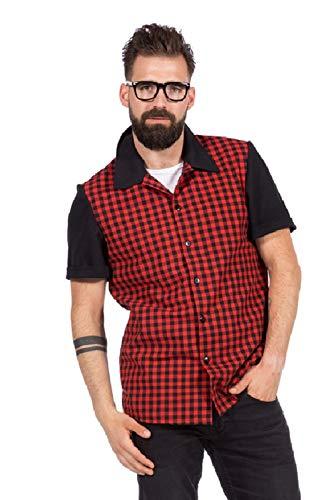 shoperama 50er Jahre Herren Karo-Hemd Rockabilly Bowling-Shirt Rot/Schwarz inkl. Brille , Größe:56