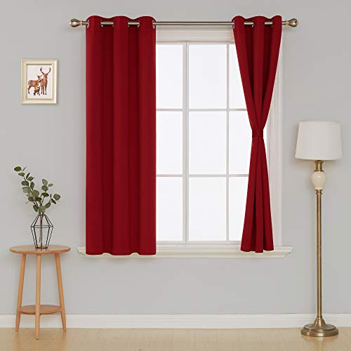 Deconovo Blackout Curtains for Bedroom Set of 2 Panels with Tiebacks, 38x45 Inch Grommet Top, Red