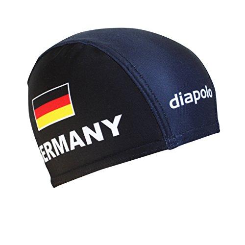 Diapolo, cuffia da nuoto professionale, in lycra, per uomo, donna e ragazzi, colore nero, con bandiera tedesca