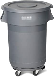 C-J-Xin Large-Capacity Trash Can, with Cover Plastic Trash Can Trash Can with Pulley Household Outdoor Industry Commercial...