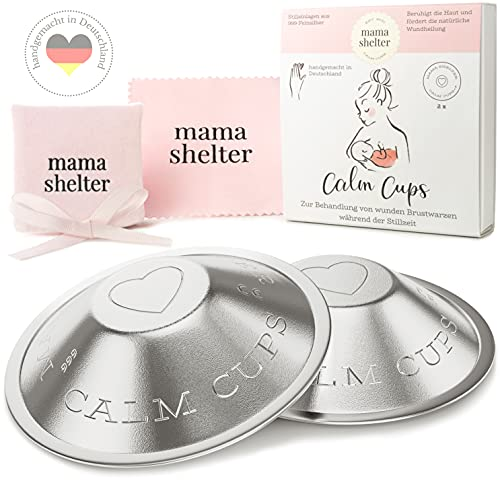 mama shelter® Stillhütchen MADE IN GERMANY - Silberhütchen stillen 999 Feinsilber - Soforthilfe für wunde Brustwarzen - Brustwarzenschutz - Medizinprodukt zertifiziert - DERMATEST - SEHR GUT