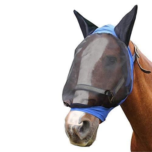 ZANGAO Tábano máscara de la máscara de la Cara Llena de Malla Anti-UV contra la Mosca con los oídos Accesorios Hípica Meshed Protector de Caballo (Color : L)