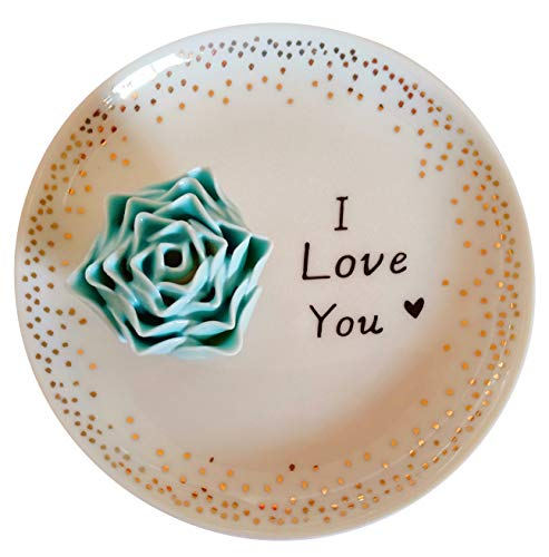 Jojuno Ceramic Ring Holder Dish Decorative Jewelry Plate Trinket Tray - 'I Love You' Flower Dish (Blue Rose, 4.5 Inches Diameter)