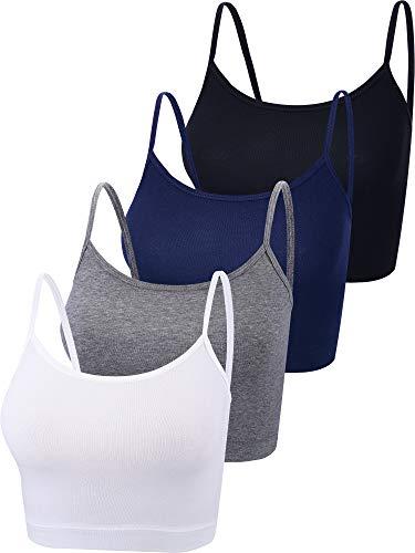 4 Pieces Basic Crop Tank Tops Sleeveless Racerback Crop Sport Top for Women (Black, White, Dark Grey, Navy, Large)