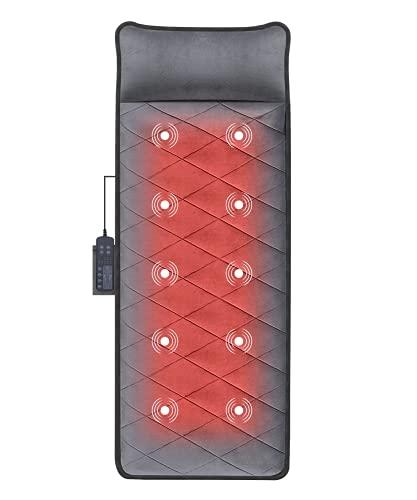 Colchón de Masaje Calefactado, Cojín de Masaje Eléctrico Plegable, con Espuma de Memoria, 10 Motores Vibradores, 5 Modos, Masaje de Cuerpo, Alivio del Dolor Muscular, para Oficina Hogar