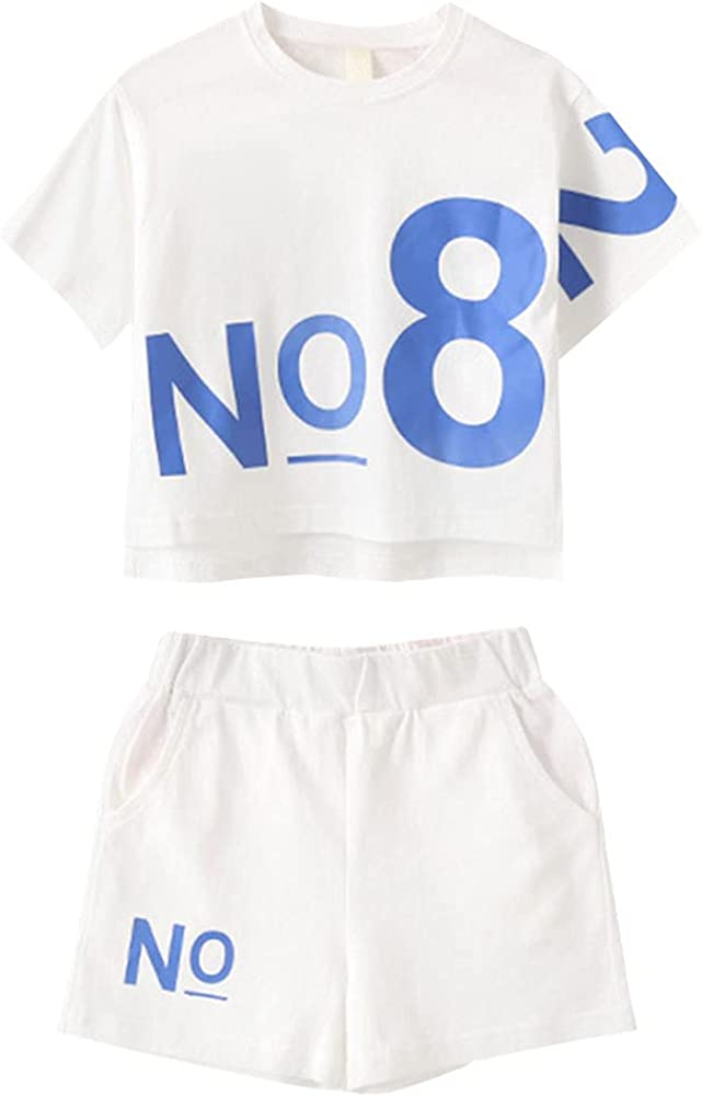 LIUJOY Girls Short Sets,Pure Color Kids Short Sleeve Tops+Sport Shorts,2 Pieces Summer Outfits For Age 6-12 Girl