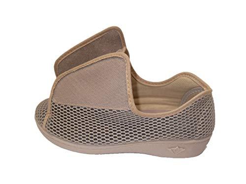 Zapatillas de Estar por Casa/Extra Ancha/Téxtil/Color Beige/Especial Pies con Vendaje/Ancho Especial/Hombre/Mujer/Talla 42