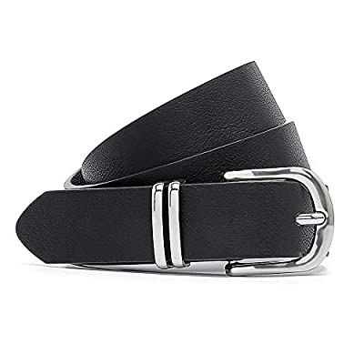 MORELESS Women's Skinny PU Leather Belt, Thin Waist Belt with Silver Buckle for Jeans Pants 1 1/8 Width Black Large