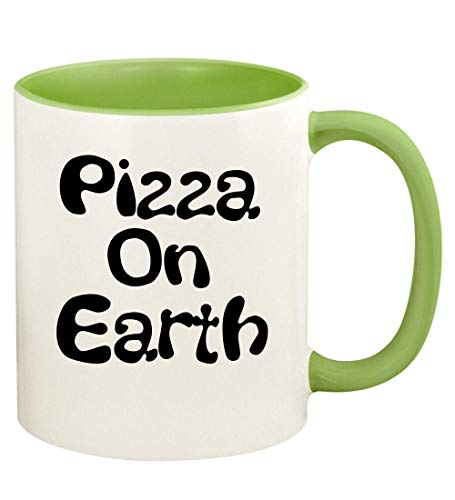 Pizza On Earth - 11oz Ceramic Colored Handle and Inside Coffee Cup Mug CP55, Light Green