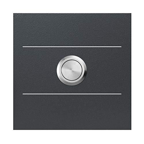 Qualitäts-Klingel anthrazit-grau (RAL 7016) MOCAVI Ring 500 G01 V4A-Edelstahl Klingel-Taster mit Edelstahl-Detail, quadratisch (8,5 cm), modern, matt