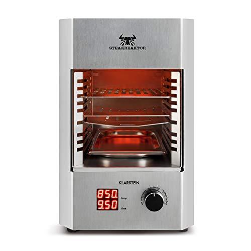 Klarstein Steakreaktor 2.0 • Edelstahl-Edition • Hochleistungsgrill • Elektrogrill • 850 °C • Keramik-Heizelemente • gekühltes Gehäuse • LED-Display • Abschaltautomatik • Fettauffangschale • silber