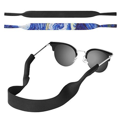 MoKo Neoprene Brillenband - 2 Stück Universal Sonnenbrille Eyewear Strap Brillenkordel schwimmende Material Anti-Rutsch Schutzbrille Halter für Kinder, Männer, Frauen - Schwarz & Sterne Nacht
