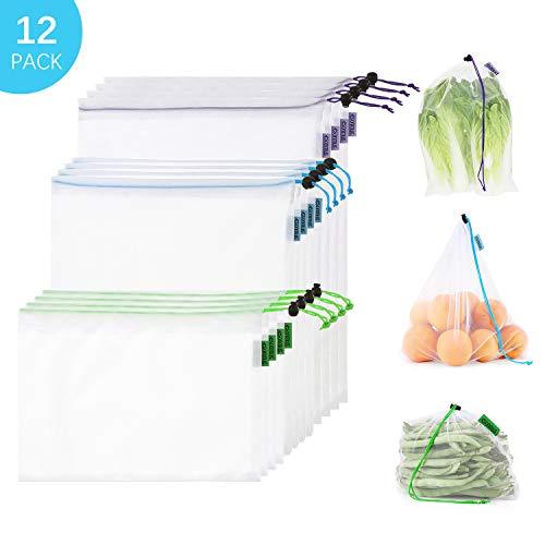esonmus Bolsas de la Compra Reutilizables 12PCS Bolsas Reutilizables de Productos para Juguetes De Verduras De Frutas Lavable (Blanco)
