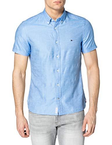Tommy Hilfiger Herren Slim CO/LI Twill Shirt S/S Hemd, Copenhagen Blau, L