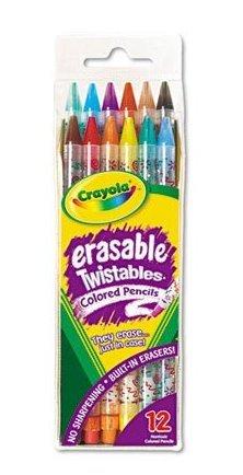 Crayola Twistables Erasable Colored Pencils, Assorted Colors (12-Pack), squeaks, crayola, pencils bébé, nourrisson, enfant, jouet