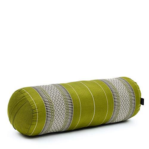 Leewadee Rouleau de Yoga - Rouleau de Yoga en Kapok Artisanal, Bolster pour Pilates rembourré en Kapok, 65 x 25 x 25 cm, Vert