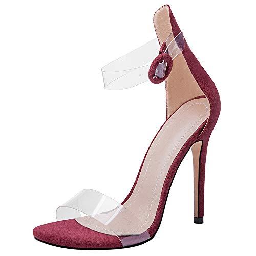 Mediffen Transparente Sandalias Mujer Correa De Tobillo Punta Abierta Moda Tacón De Aguja Zapatos Hebilla Noche Elegante Fiesta Sandalias Vino Rojo Talla 37 EU/38Asiática