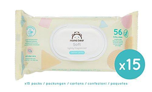 Marque Amazon - Mama Bear Soft Lingettes légèrement parfumée pour bébé - Pack de 15 (840...