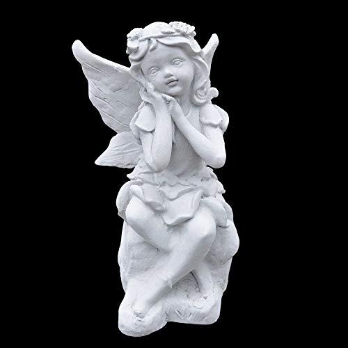 Wilai Massive kleine Steinfigur sitzende Elfe Skulptur Steinguss Gartendeko Innendeko