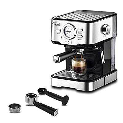 Gevi Espresso Machines 15 Bar with Adjustable Milk Frother Wand Expresso Coffee Machine for Cappuccino, Latte, Mocha, Machiato, 1.5L Removable Water Tank, Double Temperature Control System, 1100W, Black
