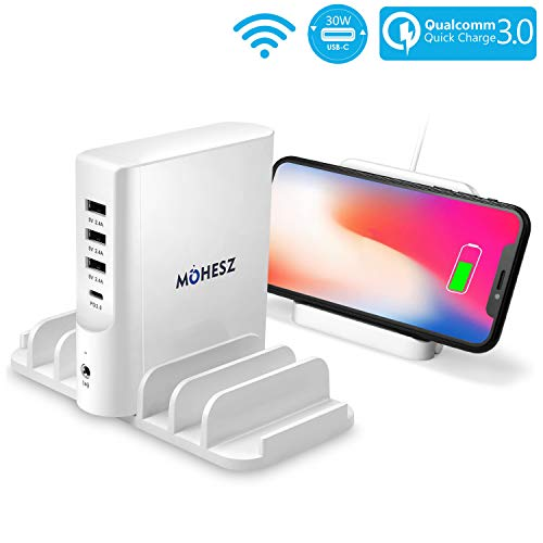 Fast Wireless Charger, MOHESZ USB C Wall Charger 80W-16A 5-Port Multi Devices Desktop Travel Charger, 30W Power Delivery for MacBook Air/Pro 2018, iPad Pro, iPhone Xs/Max/XR/X/8, Samsung Galaxy, Pixel