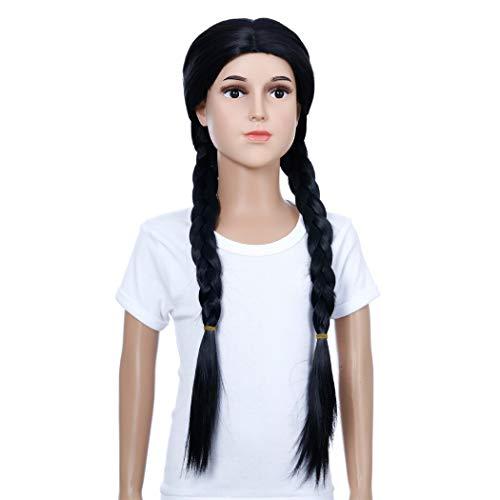 TANTAKO® - Peluca Negra Larga Y Recta Para Niños - Disfraz De Halloween Para Niños Pelucas Negras Pelucas Sintéticas Para Disfraces (Negro # 0322)