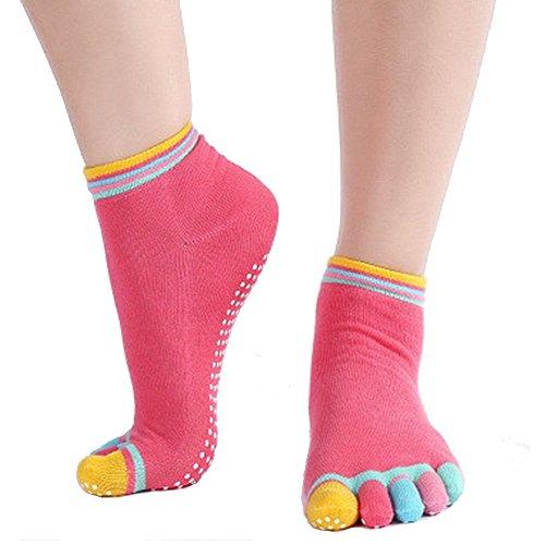 Calcetines de yoga antideslizante de algodón de cinco dedos deportivos para mujer