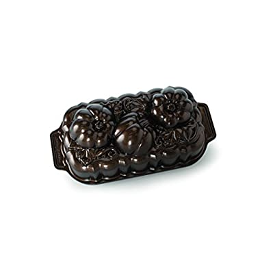 Nordic Ware 88548 Botanical Pumpkin Loaf Pan, Bronze