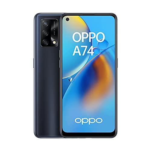 OPPO A74 - Smartphone 4G Débloqué - Téléphone Portable 4G - 128 Go - Écran AMOLED FHD+ - Triple Capteur Photo 48 MP - Processeur Qualcomm Octa-Core - Charge Rapide - Noir Prisme