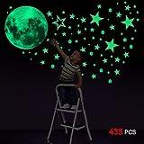 Konsait Glow in The Dark Stickers, 435pcs Luminosi Punti Luna Stelle Fluorescenti Adesive da Parete DIY Parete Arte per Decorazioni a Parete cameretta Bambini Fosforescenti Ragazzo Ragazza