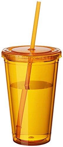 noTrash2003 Plastikbecher Mehrweg doppelwandig Tasse Becher Deckel mit Mehrweg Strohhalm Smoothie Saft Kaffee...
