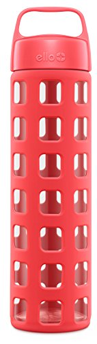 Ello Pure Glass Water Bottle with Silicone Sleeve, 20 oz, Coral Squares
