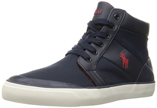 Polo Ralph Lauren Men's Isaak Nylon Fashion Sneaker, Slate Grey, 8.5 D US