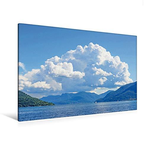 Calvendo Premium Lienzo 120 cm x 80 cm horizontal, montañas de nubes en Tessin, Suiza, cuadro sobre bastidor, listo para lienzo auténtico. Nubes sobre el lugar de Lago Maggiore.