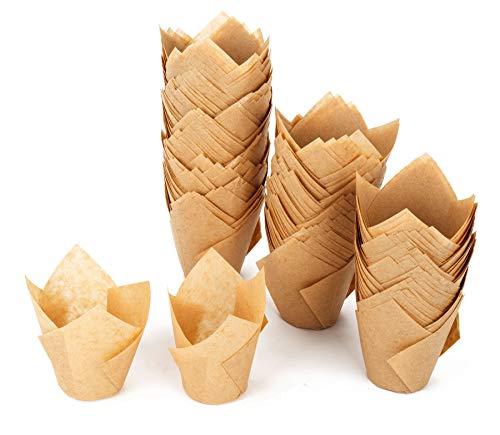 GOLDEN アップル チューリップカップケーキライナー ベーキングカップ マフィン缶カップ 結婚式 誕生日 ベビーシャワー Lサイズ ナチュラル 200個