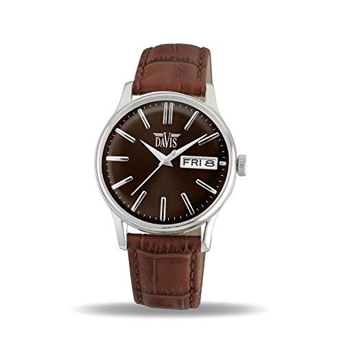 Davis 2091 herenhorloge, klassiek, retro, wijzerplaat bruin, dag/datum, armband van leer, bruin