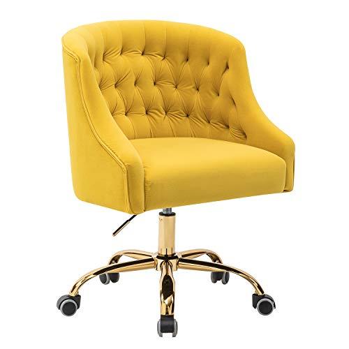 Lydia Tufted Velvet Upholstery Task Chair for Home Office-Yellow