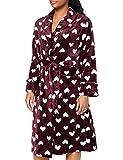 Marchio Amazon - Iris & Lilly Long Plush Dressing Gown Donna, Rosso (Porto di Tawny), L, Label: L