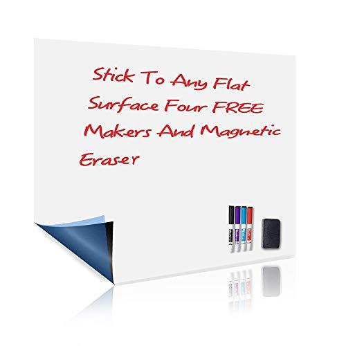 UCMD Etiqueta adhesiva de pizarra magnética, hoja de borrado en seco de 17x 12 ideal para refrigerador de pared, bonificación de 4 marcadores de borrado en seco, 1 borrador magnético