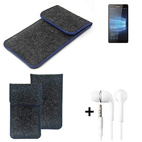 K-S-Trade Filz Schutz Hülle Für Microsoft Lumia 950 XL Dual SIM Schutzhülle Filztasche Pouch Tasche Handyhülle Filzhülle Dunkelgrau, Blauer Rand Rand + Kopfhörer