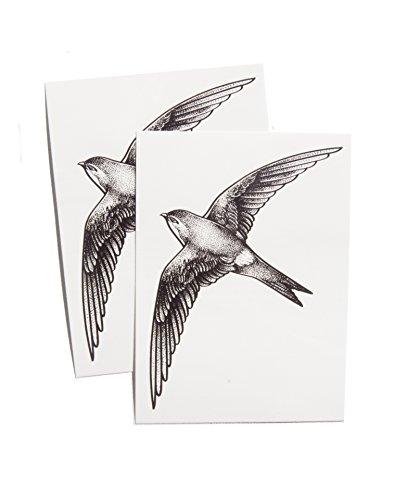TattooYou Swift Bird Temporary Tattoo for Women - Finest Quality Temporary Bird Tattoo - Hand Drawn Design by Anastasiya Pakhanova - 3 by 4.25 Inches