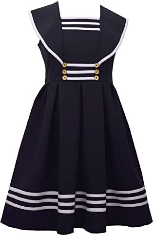 Bonnie Jean Girls Easter Nautical Sailor Striped Uniforms Navy Dress 14 Navy product image