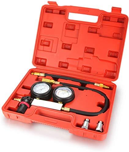 IQQI Coche De Gasolina De Motor De Pistón Y Cilindro Fugas Presión hacia Abajo Tester Kit Doble Calibre Sistema con El Caso, La Herramienta para Detectar Presión del Cilindro Automóvil