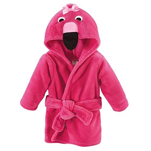 Hudson Baby Unisex Baby Plush Animal Face Robe, Flamingo, One Size, 0-9 Months