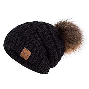 Alepo Winter Beanie Hat for Women, Real Fur Pom Pom Slouchy Chunky Knit Warm Fleece Lined Thermal Soft Ski Cap