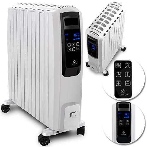 KESSER® 2500W Ölradiator mit digitalem Display Fernbedienung - elektrischer, energiesparender Heizkörper mit 10 Rippen, Timer Zeitschaltuhr, 4 Heizstufen, Thermostat, Sicherheitsabschaltfunktion Weiß