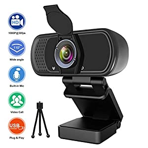 Webcam with Microphone, Hrayzan 1080P HD Webcam with Privacy Cover and Tripod, Streaming Computer Web Camera with 110-Degree Wide View Angle, USB PC Webcam for Video Calling Recording Conferencing